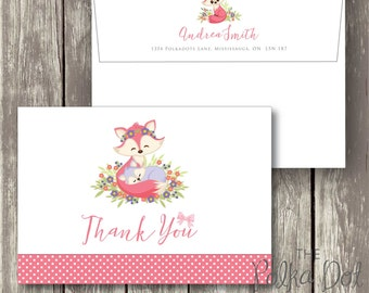 Pack of 10 Pink Baby Fox and Mommy Fox Polka Dot Thank You Cards with Envelopes