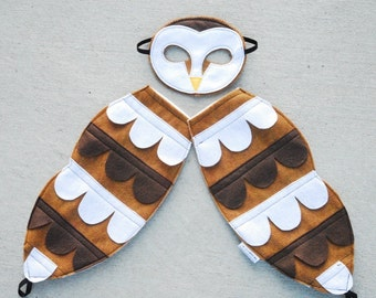 Barn Owl Costume - Felt Animal Mask - Wool or Eco Felt - Mask and Tail Costume Gift Set