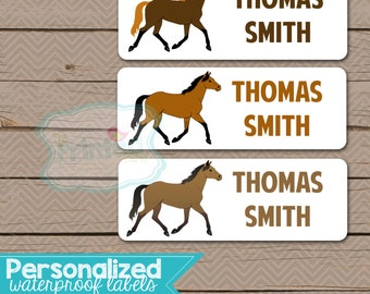 Personalized Waterproof Label Stickers - Boy - horse - Perfect for Bottles, Sippy Cups, Daycare, School - 112