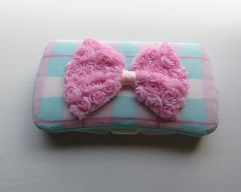 Pink and Blue Plaid Fancy Baby Wipe Case