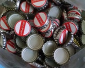 Approximately 575 Red Stripe Bottlecaps for Upcycling