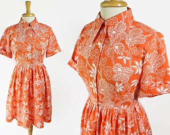 60s Shirtwaist Dress, Day Dress, Orange, Rockabilly Housewife Petite