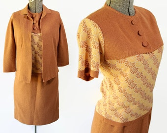 60s Glengarry Knit Suit Sweater Set Separates Pumpkin Blouse Skirt Jacket