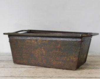 Vintage Metal Bin Vintage Metal Box Industrial Metal Decor Metal Basket Storage 3