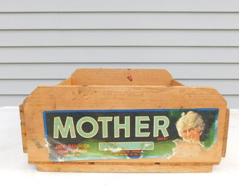 Rare Vintage Mother Brand Wood Fruit Shipping Crate Box California
