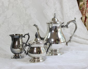 Silverplate  Coffee/ Tea Set with creamer and covered sugar bowl- Antique / Vintage- 4 piece Set- William Rogers- Wm Rogers