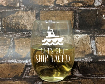 Ship Faced Stemless White Wine Glass