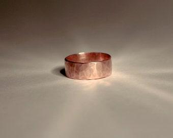 Wide Hammered Copper Rustic Minimalist Men or Women #R100