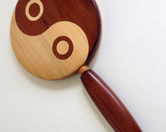 Red and Yellow Cedar Tao Yin Yang Hand Mirror