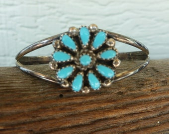 Vintage Turquoise and Silver Cuff Bracelet