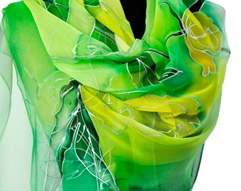 Green floral scarf/Hand painted silk scarf/Silk chiffon long scarf/Luxury woman accessory/Painting flowers/Luxury silk chiffon scarf/Gabyga