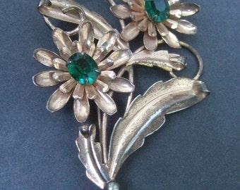 Sterling Vermeil Crystal Flower Spray Brooch c 1950