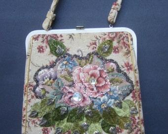 1950s Romantic Tapestry Flower Handbag