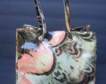 Robert Cavalli Vinyl Feather Print Handbag Made in Italy