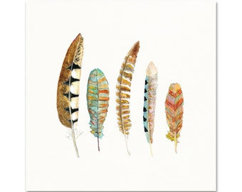 Feather Art.  Nature Decor.  Archival Watercolor Print.
