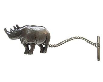 Silver Toned Rhino Tie Tack