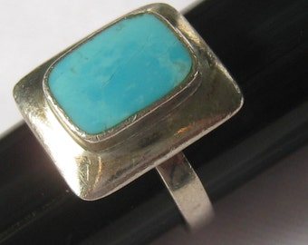 SALE Turquoise & Sterling Silver Ring has Rectangular Frame with Turquoise Stone Bezel Set in Center.  Plain Round Band.  Sz. 5.25