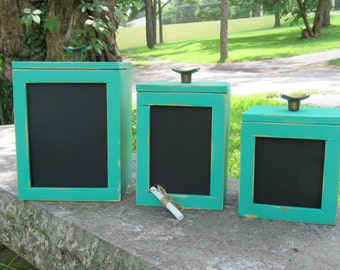 Turquoise Wooden Canister Set  with chalk board Inset and Copper Vintage Knobs