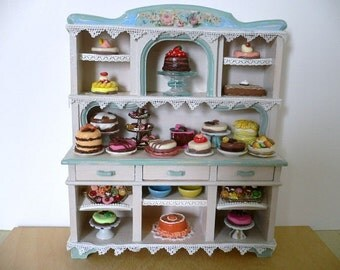 Dollhouse Miniature One Inch Scale Hutch with Pastries