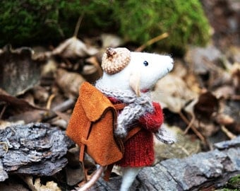 Traveler Little Mouse- Needle Felted Doll Rustles from the Meadow