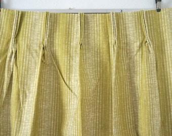 Pair of Vintage Green Drapes / Pinch Pleat Hollywood Regency