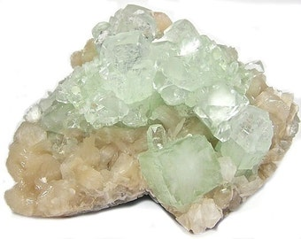 Apophyllite Stilbite Mordenite Crystal Cluster Mint Green Pink Beige Zeolite Fine Indian Gem Mineral Connoisseur's Select Museum Specimen,