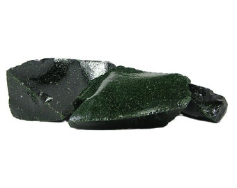 Green Goldstone, Deep emerald green sparkly Synthetic Aventurine Glass, Manmade Lapidary Cutting Rough, 3 pieces, 2 pounds