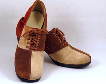 Womens Vintage Suede Color Block Oxfords Chunky Heels 6 N