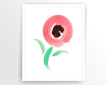 Mint, Coral Printable Abstract Flower Printable, DIY,  INSTANT DOWNLOAD ( 002ag )