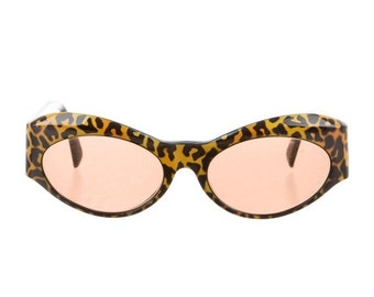 10,000 LIKES 7 Day Sale 90s GIANNI VERSACE Leopard Print Geometric Cat Eye Vintage Designer Sunglasses - Highly Collectable!