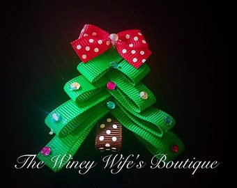 Christmas tree sculpted clip, Christmas bow, boutique bow, bow, Christmas,baby gift