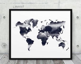 World Map Watercolor Print. Black & White Ink Print World Map Silhouette Indigo Grey Art. Modern Wall Art Home Office Decor. Printable Art