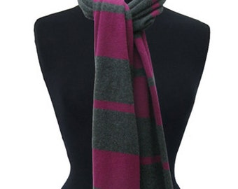 Beetroot/charcoal grey 3ply pure cashmere scarf