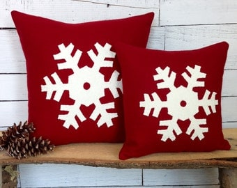 Red Pillow, Ski Lodge Decor, Rustic Home Decor, Christmas Pillow, Woodland Decor, Snowflake, Snowflake Decorations, 12x12 or 16x16