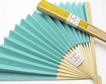Personalized Fans 100 Set - Paper Fan Wedding Favors Party Favors Hand Fans Bridal Shower Gifts - More Colors