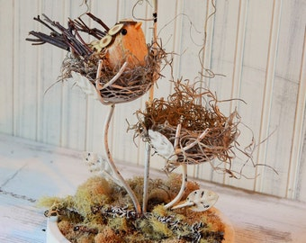 Candle holder metal Bird and reindeer/spanish moss Nature decor Upcyclesisters