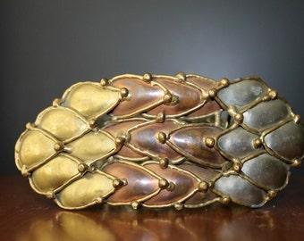 Copper Silver Bronze Brutalist Belt Buckle Vintage Accessories Handmade Metal Works Vintage Belt Buckle Unisex fashions Jeans Slacks Pants
