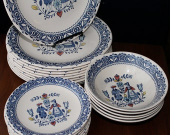 Staffordshire Old Granite Dishes Flowers Hearts Lovers Ironstone Dinnerware Vintage Bowls Saucers Plates Retro Wedding Mod Kitchen Serving