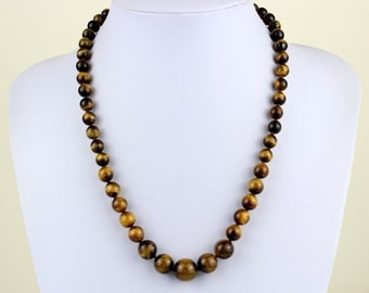 "Graduated Tiger Eye Necklace - 8mm to 14mm Tiger Eye Beads. 22"" Hand Knotted. Brown Tiger Eye / Tiger's Eye Stone. Therapeutic. MapenziGems"