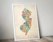 New Jersey by County - Typography Print