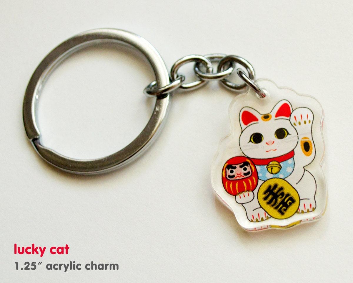 lucky cat maneki neko acrylic keychain charm