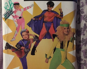 Simplicity Sewing Pattern 90s 0666 Children's Super Hero Costume Size 4-14