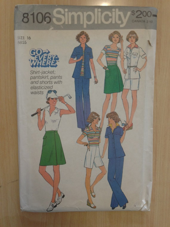 Simplicity Sewing Pattern 8106 Uncut 70s Misses Pantsuit, Skirt, Shorts, And Shirt Jacket Size 16