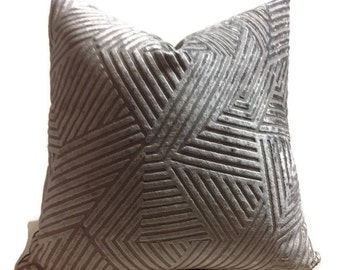Gray Maze Velvet Pillow Cover, Cut Velvet Pillow, Pillow Covers, Decorative  Pillow,