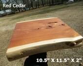 Live Edge Shelf, Finished Red Cedar Wood Slab, DIY Floating Shelf, Natural Edge Side Table, Charging Station, Live Edge Cedar Shelf, 0059
