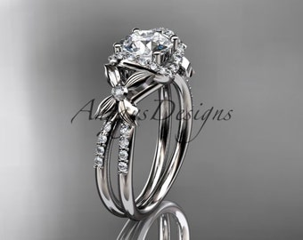"Platinum diamond floral wedding ring, engagement ring with a ""Forever One"" Moissanite center stone ADLR140"