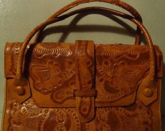 Vintage 1960's Boho Gypsy Hippie Custom Tooled Southwestern Style  Caramel Tan Brown Leather Two Strap Distressed Handbag