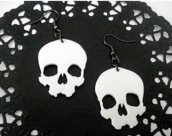 White Skull Earrings, Large Laser Cut Dangle Earrings, Creepy, Halloween