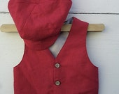 Boys red vest / Linen Red  VEST and Hat, Red outfit for boys , photo prop for boys