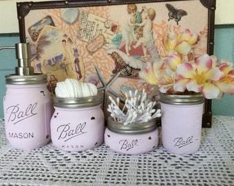 Pink Painted Mason Jars- 4 Piece Set-Bathroom Décor- Housewarming, Bridal Shower, Wedding Gift